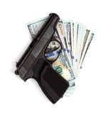 Gun on the dollars Stock Photos