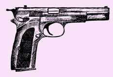 Gun. Doodle style sketch illustration hand drawn Royalty Free Stock Image
