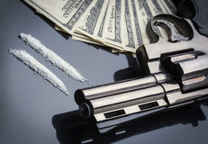 Gun, drugs and money Royalty Free Stock Image