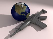 Gun & Earth - Planet in Danger Royalty Free Stock Photos