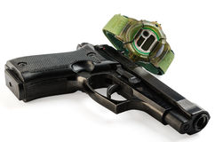 Gun and Electronic Wrist Watch Royalty Free Stock Images