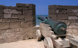 Gun on  essaouira rampart Royalty Free Stock Photo