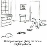 Gun Fight. He began to regret giving the mouse a fighting chance Royalty Free Stock Image