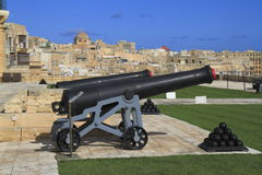 Gun Fire of saluting Lascaris Battery in Valletta, Malta Royalty Free Stock Photography