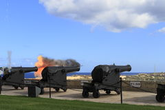 Gun Fire of saluting Lascaris Battery in Valletta, Malta Royalty Free Stock Image