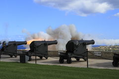 Gun Fire of saluting Lascaris Battery in Valletta, Malta. Gun Fire of saluting Lascaris Battery at Upper Barracca Gardens  in Valletta, Malta Royalty Free Stock Photography