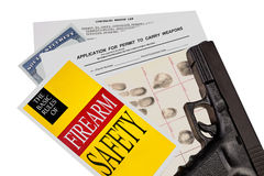 Gun with Firearm Application and CCW Permit Fingerprint ID Royalty Free Stock Photo