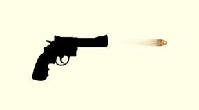 Gun firing a bullet Stock Photo