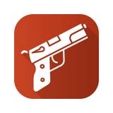 Gun flat linear long shadow icon. Vector line symbol Royalty Free Stock Image