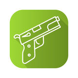 Gun flat linear long shadow icon. Vector line symbol Royalty Free Stock Images