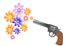 Gun and flowers. Vector illustration of gun and flowers isolated on a white background Royalty Free Stock Image