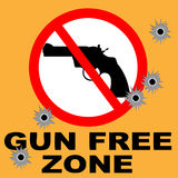 Gun Free Zone. Sign with Bullet Holes Royalty Free Stock Photos