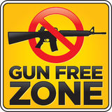 Gun Free Zone Assault Rifle Sign Royalty Free Stock Images