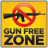 Gun Free Zone Assault Rifle Sign. Vector Gun Free Zone assault rifle street and building sign stock illustration