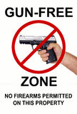 Gun Free Zone, No firearms. Gun-free zone, no firearms permitted on this property Royalty Free Stock Photography