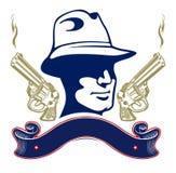 Gun gangster emblem Stock Image