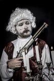 Gun, gentleman rococo era wig Stock Image