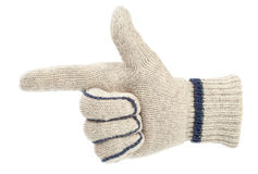 Gun gesture made with a knit glove Stock Image