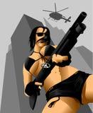 Gun and a girl Royalty Free Stock Photo