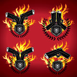 Gun glock pistol fire flames graphic Stock Photography