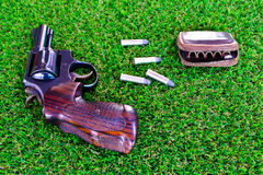 The gun on the grass. The guns on the grass with the bullet Stock Photo