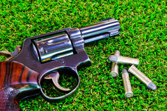 The gun on the grass. The guns on the grass with the bullet Royalty Free Stock Images