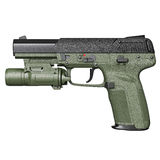 Gun green military, police, side view Stock Photography