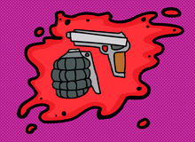 Gun and Grenade in Blood Royalty Free Stock Photography