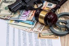 Gun, hammer, handcuffs  euro  personal  budget. Gun, hammer  handcuffs  euro, personal  budget and calculator Stock Photos