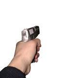 Gun in a hand. Isolated, clipping path for photoshop, with path, for designer Royalty Free Stock Photography
