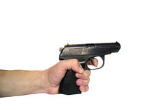 Gun in a hand. Real, isolated, clipping path for photoshop, with path, for designer Stock Image