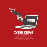 Gun In Hand Cyber Crime Concept Stock Photography