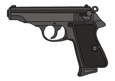Gun. Hand drawing of classic handgun Stock Photography