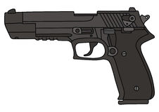 Gun. Hand drawing of recent handgun Stock Photography