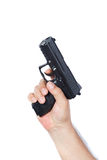 Gun in the hand isolated on white Royalty Free Stock Photography