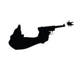 Gun in hand vector silhouette Stock Photography