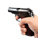 Gun in hand on a white background Stock Photography