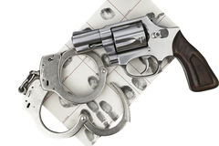 Gun with handcuff and fingerprint ID for criminal arrest Royalty Free Stock Photos