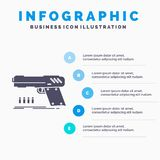 gun, handgun, pistol, shooter, weapon Infographics Template for Website and Presentation. GLyph Gray icon with Blue infographic royalty free illustration