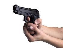 Gun in hands Royalty Free Stock Photo