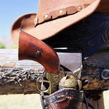 Gun and hat Stock Image