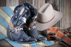 Gun,Hat and Boots Royalty Free Stock Photography