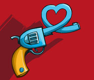 Gun with heart shaped barrel Royalty Free Stock Image