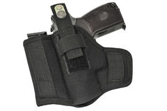 The gun in the holster. Isolated.  Stock Photo