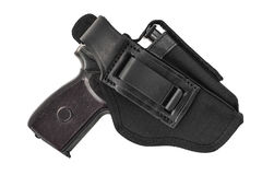 The gun in the holster. Isolated.  Royalty Free Stock Photography