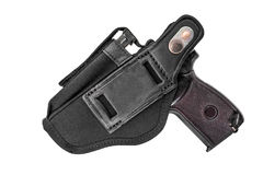 The gun in the holster. Isolated.  Royalty Free Stock Photo