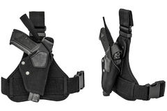 The gun in the holster. Isolated. Two views Stock Images