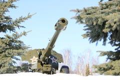 Gun-howitzer. Soviet cannon of world war II Stock Photography