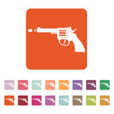 The gun icon. Pistol and handgun, weapon, revolver, shot symbol. Flat Royalty Free Stock Photography