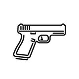 Gun icon sticker2-01. Gun sign icon. Firearms weapon symbol. Classic flat icon. Vector illustration Royalty Free Stock Images